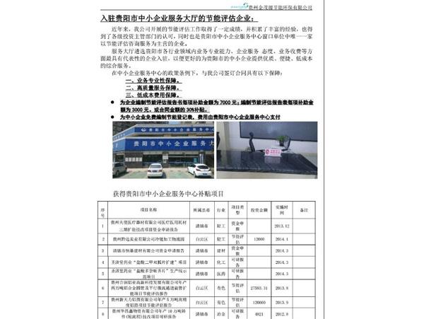 入驻贵阳市中小企业服务大厅的节能评估企业